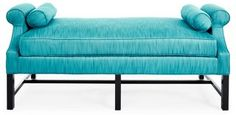 "Anne 70"" Two-Tone Day Chaise, Turquoise"