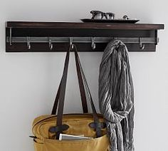 Duncan Bronze Shelf With Hooks (Pottery Barn) Wall Shelf With Hooks, Wall Shelves, Entryway Shelf, Entryway Decor, Entryway Ideas, Bronze, Interior Design Services, Home Staging, Home Organization