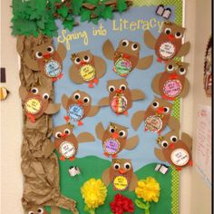 Spring bulletin board...finished w/ the kids' owls.