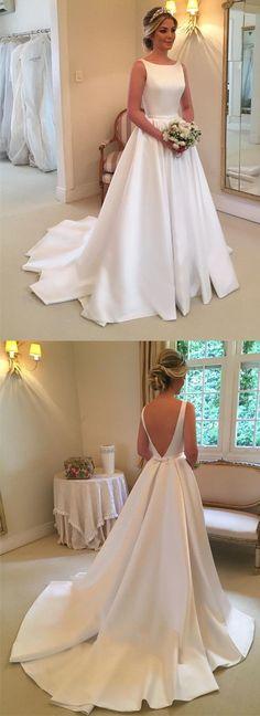Backless A-line Satin Wedding Dress Bridal Dresses Vestidos de Novia BDS0560