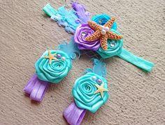 Mermaid Baby Barefoot Sandals Headband Set - Under the Sea Piggy Petals - Starfish Headband - Photo Props - Baby Girl Birthday Outfit