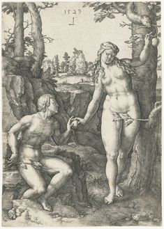 Fall of Man (Story of Adam and Eve Series) - Lucas van Leyden. 162 x 117 mm. Metropolitan Museum of Art, New York City NY, USA. Gustave Dore, Adam Et Eve, The Falling Man, Book Of Genesis, Religion Catolica, Garden Of Eden, Classic Image, Canvas Prints, Art Prints