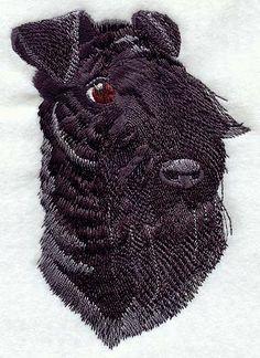 KERRY BLUE TERRIER (Portrait)- Machine Embroidered Quilt Blocks (Azeb)
