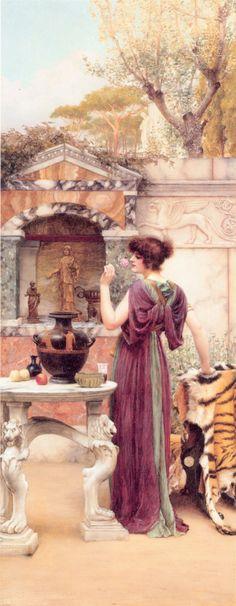 At the Garden Shrine, Pompeii  by John William Godward (Unkknown Owner/Private Collection - Location Unknown) Pre-Raphaelite