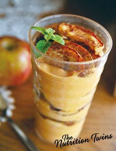 Pumpkin 'n Apple-y Yogurt Parfait | Only 204 Calories | For MORE RECIPES please SIGN UP for our FREE NEWSLETTER www.NutritionTwins.com appl parfait, mmmm food, appley yogurt, pumpkins, yogurt parfait, pumpkin appl, eat, apples, pumpkin parfait