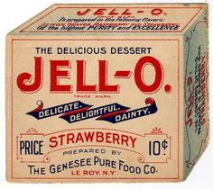 early jell-o box Packaging, Packaging Design, Type Packaging #packaging #packagingdesign #typepackaging