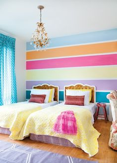 Chic kids bedroom wall decorations ideas that will make fun your kids room - the interior decorating and decor of a bedroom largely depends upon it's function. There are mainly 4 types of bedrooms in a typical home plan. Bedroom Wall Colors, Bedroom Decor, Striped Walls Bedroom, Girls Bedroom Ideas Paint, Girl Bedrooms, Budget Bedroom, Bedroom Designs, Modern Bedroom, Kids Rooms Decor