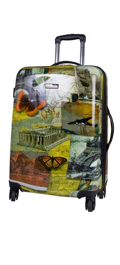 """National Geographic Travel 24"""" hard top luggage...very cool Postmark design"""