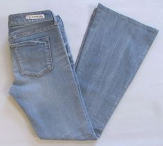Express Stella Flare Leg Jeans size 6 Light Blue Low Rise Stretch Cotton Denim #Express #Flare