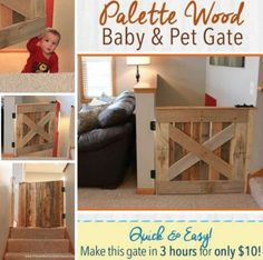 Easy pallet projects for kids wood pallet baby pet gate Diy Wood Pallet, Diy Pallet Sofa, Wooden Pallets, Pallet Furniture, Pallet Ideas, Diy Pallet Kitchen Ideas, Unique Furniture, Furniture Ideas, Funky Junk Interiors