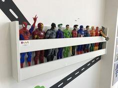 Ikea spice racks w super hero's and books Boys Superhero Bedroom, Marvel Bedroom, Boys Bedroom Decor, 4 Year Old Boy Bedroom, Superhero Room Decor, Big Boy Bedrooms, Avengers Room, Boys Room Design, Toy Rooms