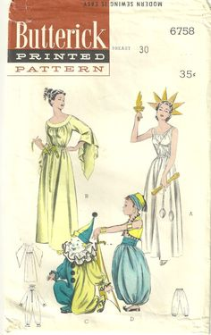 Butterick 6758 1950s Childs Miss Liberty Goddess, Persian and Clown Costumes by mbchills,