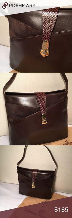 416326ec1d Salvatore Ferragamo Leather Handbag Vintage A crown jewel  own vintage  Ferragamo! Rich chocolate brown