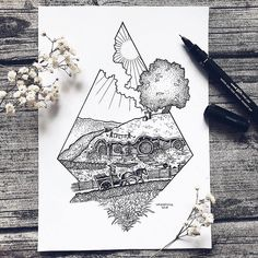 We bring out awesome and fantastic stippling nature art created by Swedish illustrator Josefine Svärd. She stunningly created this stippling art that show Hobbit Tattoo, Tolkien Tattoo, Lotr Tattoo, Ring Tattoos, Body Art Tattoos, Tatoos, Tatouage Tolkien, Lord Of The Rings Tattoo, Ring Sketch