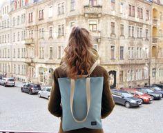 "Minimalistischer Rucksack in Eisblau, Pantonefarbe 2016 / minimalistic backpack, pantone colour ""serenity"", streetstyle made by hare_bagpacks via DaWanda.com"