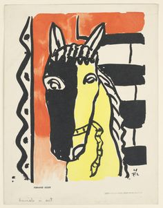 Fernand Leger, Vertical rectangle with the head of a horse in black and yellow, against a decorative background of zig-zagging lines and horizontal stripes.