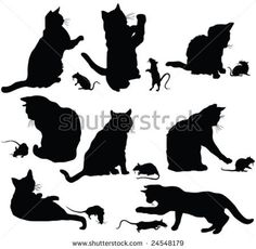 Cats And Mice Silhouette - Vector - 24548179 : Shutterstock Silhouette Chat, Silhouette Painting, Cat Quilt Patterns, Stencil Patterns, Stencil Designs, Cat Vector, Vector Art, Vector Stock, Cat Mouse