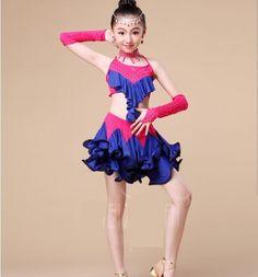 KC0020 Children Girls Kids Latin Costume Dress Ice Skating Ballroom Salsa Dress