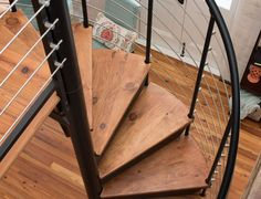 The Bradley is an indoor spiral stair with a custom line railing and code risers to close the gap between each step. Spiral Stairs Design, Staircase Design, Grand Staircase, Spiral Staircase, Staircases, Solid Wood, Interior Design, Perfect Photo, House