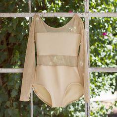 All Nude Mesh and Lycra Long Sleeve Ballet Leotard from LuckyleoDancewear.com