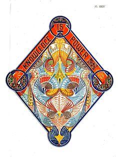 Printed matter - Emblem - Design - Knowledge is Power, C. Dresser 19thC (2)