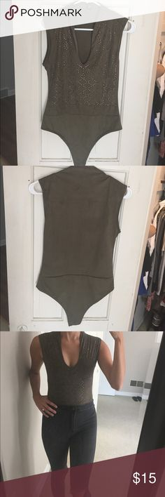Felt Navy Green Body Suit NEVER BEFORE WORN, navy green body suit Windsor Tops Tank Tops