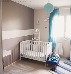 Chambre bébé bleue et taupe