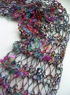Power Scarf: 1 skein last minute gift! Works quick.This scarf looks great in worsted weight or lighter yarn, but particularly great in a variegated or ribon yarn. Loom Used: Any loom with atleast 10 pegs. Approx. 90 yards Stitch Techniques: E-wrap, purl, drop stitch, working as a flat panel, flat panel bind off.