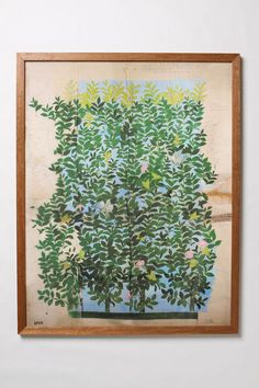 green leaves framed art #anthropologie