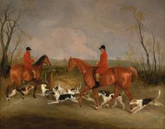 George Mountford, Huntsman to the Quorn, and W. Derry, Whipper-In, at John O'Gaunt's Gorse, near Melton Mowbray by Richard Barrett Davis, 1836.