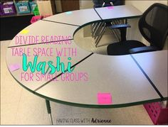 Love the idea of giving each reader their own section with the simple use of washi tape on the guided reading table!