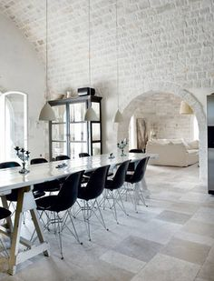 Living room? love white brick paired with modern love that whitewashed brick!