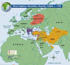 Mediterranean cultures: Three Empires c. 1100: Byzantine (Eastern Roman), Russian, Seljuk (Turkic)