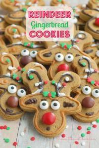 Gingerbread Reindeer Cookies by The Sweet Chick Best Christmas Cookies, Christmas Goodies, Holiday Cookies, Christmas Desserts, Holiday Treats, Christmas Treats, Christmas Fun, Holiday Fun, Holiday Recipes