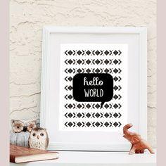 Hello World Design Printable wall art instant download, Print Wall Art,  Bedroom Decor, Nursery Art by LunaSavita on Etsy