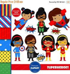 80% OFF SALE African American superhero clipart by PremiumClipart