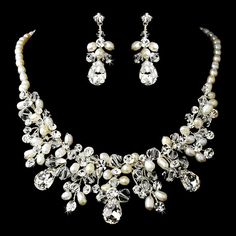 Elegance by Carbonneau Gorgeous Silver Clear Crystal & Ivory Freshwater Pearl Necklace & Earring Set 9783 Bridal Necklace Set, Bridal Jewelry Sets, Bridal Earrings, Wedding Jewelry, Wedding Accessories, Wedding Necklaces, Prom Jewelry, Bridal Jewellery, Engagement Jewelry