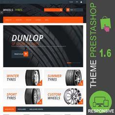 Thème PrestaShop 1.6 responsive Bootstrap pour site ecommerce destiné à la vente de pneus: pneus été, pneus, hiver, pneus sport, Michelin, Dunlop, Goodyear…