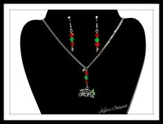 Merry Christmas Necklace and Bell Earrings ~ Christmas Gift ~ Handmade by KatesOutpost on Etsy