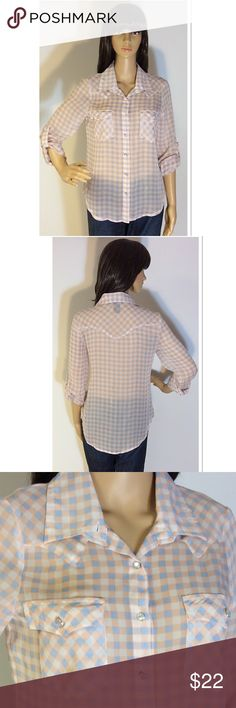 """ADORABLE SEMI SHEER BUTTON DOWN TOP Sweet top for spring and summer with pastel pink/blue/white as well as pearl like covered buttons. High low style. Armpit to armpit 17.5"""" length front 25"""" back 27"""". See pic of 1 small pull. about a girl Tops Button Down Shirts"""