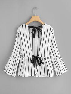 Knot Back Striped TopFor Women-romwe