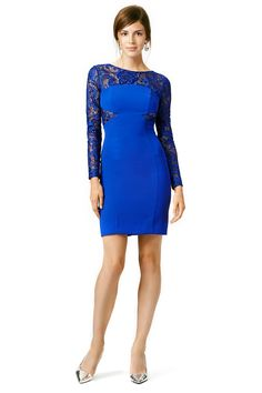 Blue Lace Wrapped in Blue Dress ML MONIQUE LHUILLIER @ Rent The Runway $75 ($450) LOVE GORGEOUS