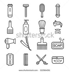 Beauty and care linear icons collection. Barber shop icons set vector illustration