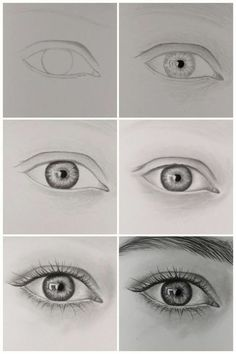 Pencil Art Drawings, Art Drawings Sketches, Kawaii Drawings, Eye Drawings, Eye Pencil Drawing, Realistic Eye Drawing, Drawing Eyes, How To Draw Realistic, How To Draw A Nose