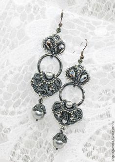"""Купить Серьги """"Зимний сад"""" - серый, серьги, длинные серьги, вечерние серьги, фриволите, анкарс Tatting Necklace, Tatting Jewelry, Lace Earrings, Thread Jewellery, Lace Jewelry, Jewelry Art, Crochet Earrings, Handmade Jewelry, Needle Tatting"""