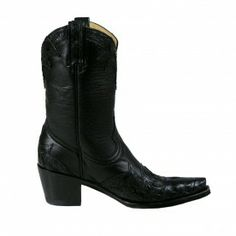 "Old Gringo Ladies ""Obregon"" Caiman Wing Tip Boots - Black - EXOTIC LEATHERS - LADIES - BOOTS 