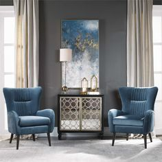 Ottomans and benches living room framed house decoration pictures uttermost accent furniture mirrors wall decor clocks Formal Living Rooms, Home Living Room, Living Room Designs, Living Room Decor, Blue Living Room Walls, Blue And Gold Living Room, Dining Room, Accent Chairs For Living Room, Dining Chairs