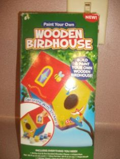 Wooden Birdhouse Kit- Paint And Build Your Own Wooden Birdhouse. New In Box