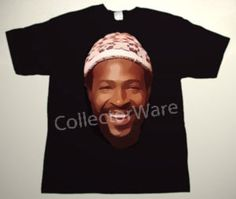 MARVIN GAYE drawing 1 CUSTOM ART UNIQUE T-SHIRT Each T-shirt is individually hand-painted, a true and unique work of art indeed!  To order this, or design your own custom T-shirt, please contact us at info@collectorware.com, or visit to http://www.collectorware.com/tees-marvin_gaye.htm