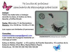 SEMINARIOS EN EL MES DE NOVIEMBRE ENAMORARTE artesanías con diseño Tienda de regalos on line- https://www.facebook.com/enamorartecreacionesdecoupage